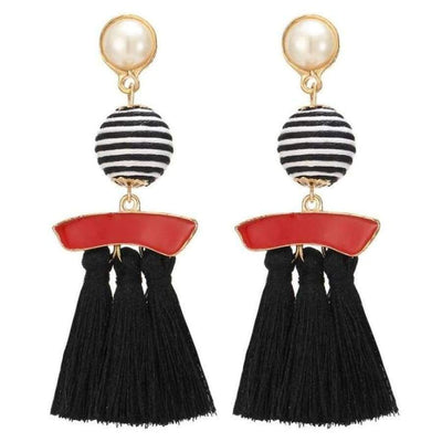 Boho Dangle Fringe Earrings jewlery SHAPE meets COLOR Black Swirl Drop Earrings