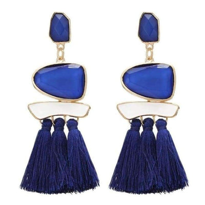 Boho Dangle Fringe Earrings jewlery SHAPE meets COLOR Blue Drop Earrings