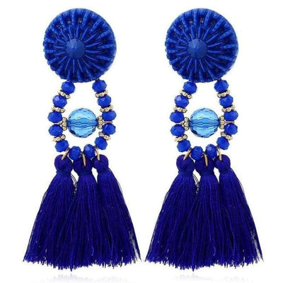 Boho Dangle Fringe Earrings jewlery SHAPE meets COLOR Blue Ocean Drop Earrings
