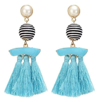 Boho Dangle Fringe Earrings jewlery SHAPE meets COLOR Blue Swirl Drop Earrings
