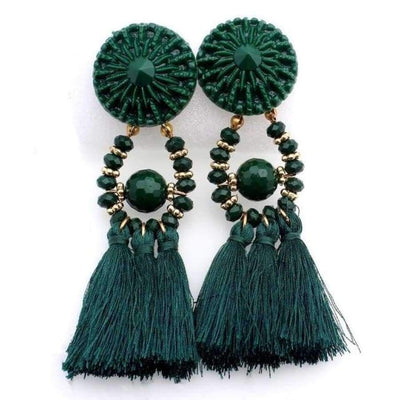 Boho Dangle Fringe Earrings jewlery SHAPE meets COLOR Green Dangle Earrings