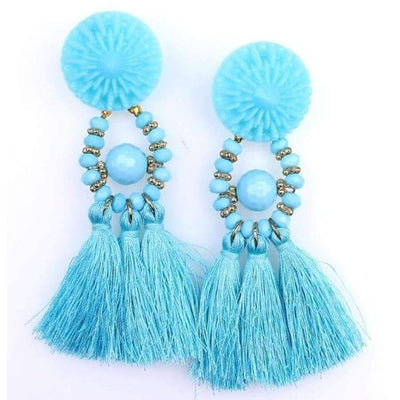 Boho Dangle Fringe Earrings jewlery SHAPE meets COLOR Lake Blue Drop Earrings