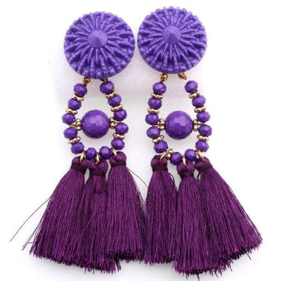 Boho Dangle Fringe Earrings jewlery SHAPE meets COLOR Purple Dangle Earrings