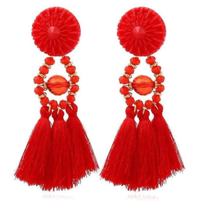 Boho Dangle Fringe Earrings jewlery SHAPE meets COLOR Red Dangle Earrings