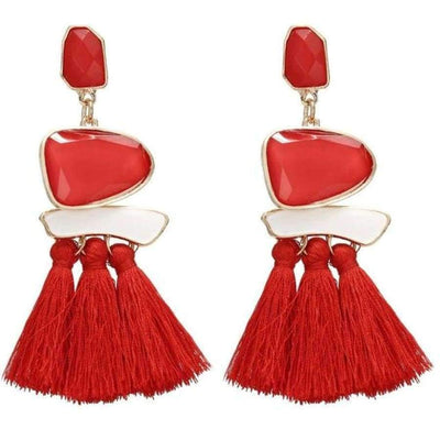 Boho Dangle Fringe Earrings jewlery SHAPE meets COLOR Red Drop Earrings