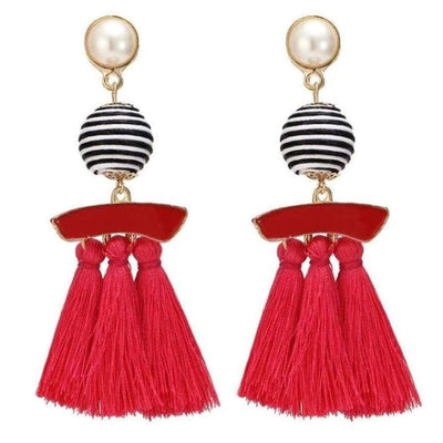 Boho Dangle Fringe Earrings jewlery SHAPE meets COLOR Red Swirl Drop Earrings