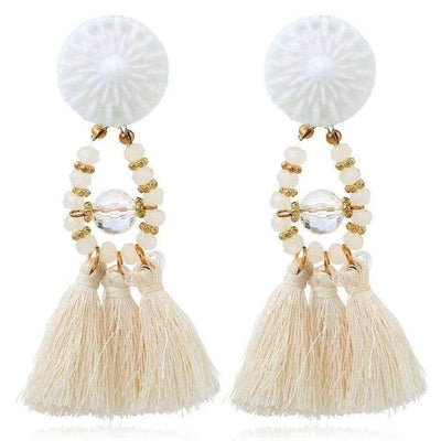 Boho Dangle Fringe Earrings jewlery SHAPE meets COLOR White Dangle Earrings