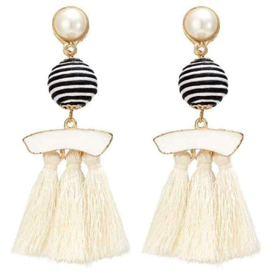 Boho Dangle Fringe Earrings jewlery SHAPE meets COLOR White Swirl Drop Earrings