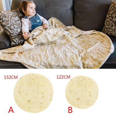 Burrito Wrap Novelty Blanket Perfectly Round Tortilla SHAPE meets COLOR