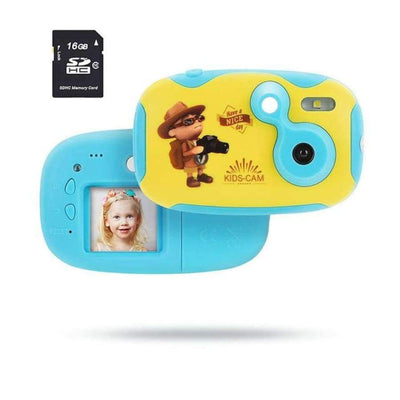 Children's Photo Camera With Neck Strap SHAPE meets COLOR blue camera sd card
