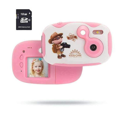 Children's Photo Camera With Neck Strap SHAPE meets COLOR pink camera sd card