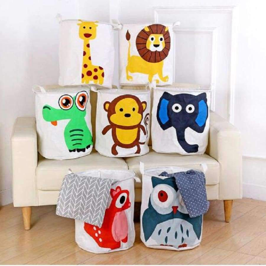 Colorful Animals Collapsible Laundry Basket for Kids SHAPE meets COLOR