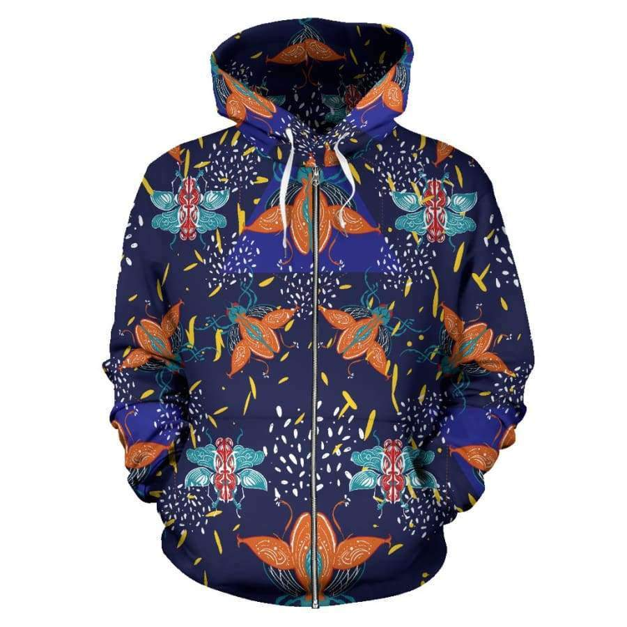 Colorful Beetles Paradise All Over Zip Up Hoodie (Women, Men, Youth) Hoodies SHAPE meets COLOR
