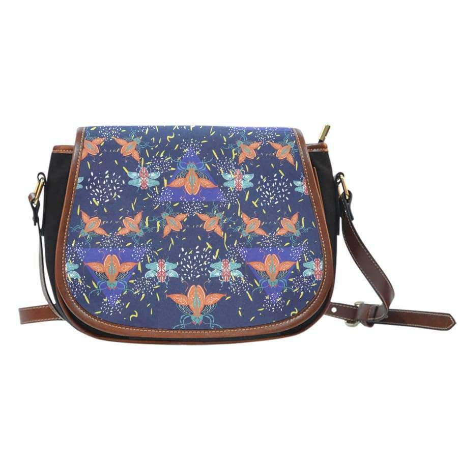 Colorful Beetles Paradise Canvas Leather Trim Saddle Bag Saddle Bag SHAPE meets COLOR