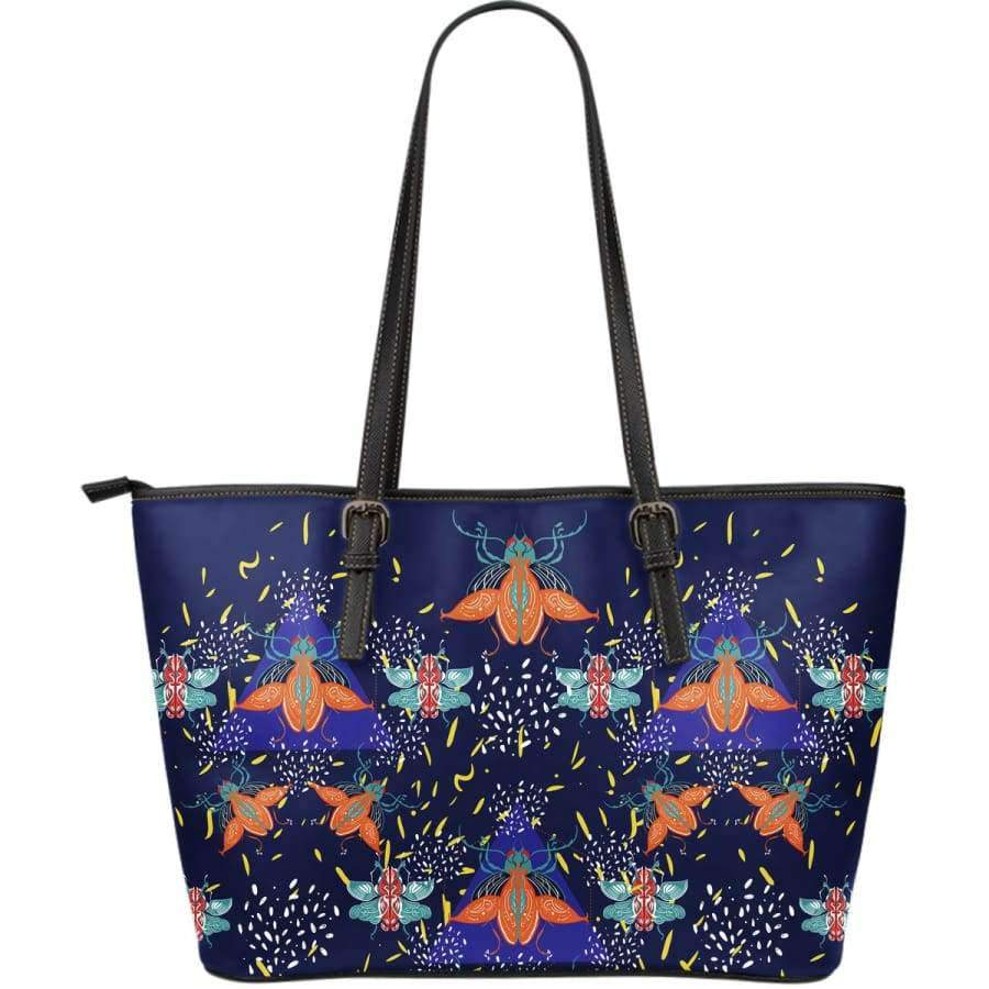 Colorful Beetles Paradise Large Leather Tote Leather Tote SHAPE meets COLOR