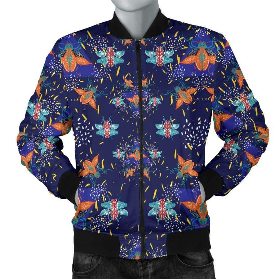 Colorful Beetles Paradise Men's Bomber Jacket Bomber Jacket SHAPE meets COLOR