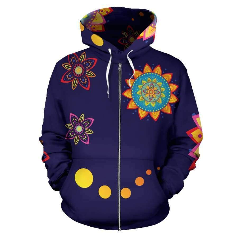 Colorful Mandala All Over Zip Up Hoodie (Women, Men, Youth) Hoodies SHAPE meets COLOR