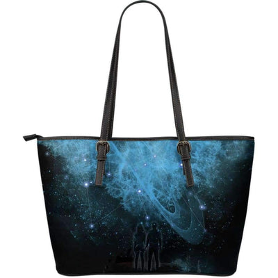 Galactic Nebula Large Leather Tote Bag Leather Tote SHAPE meets COLOR