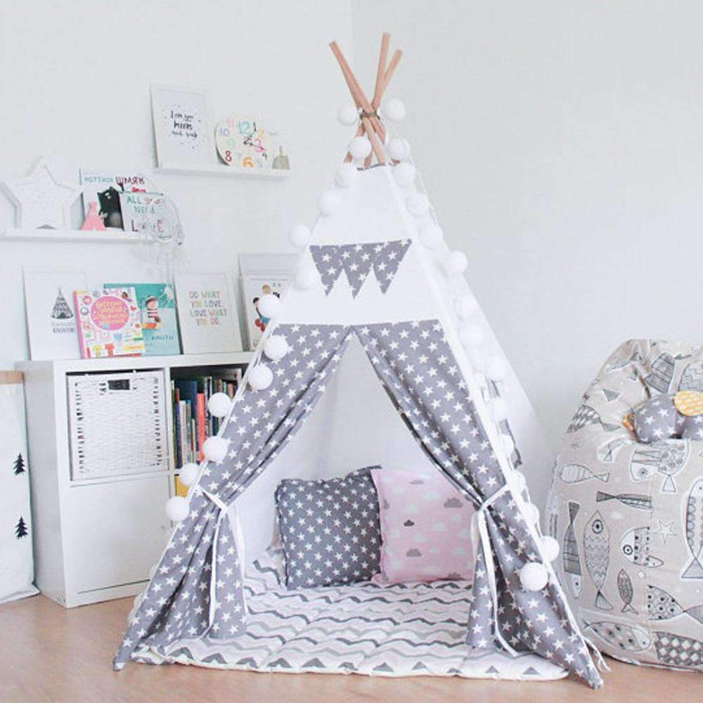 Grey Children Play Tent with Stars SHAPE meets COLOR