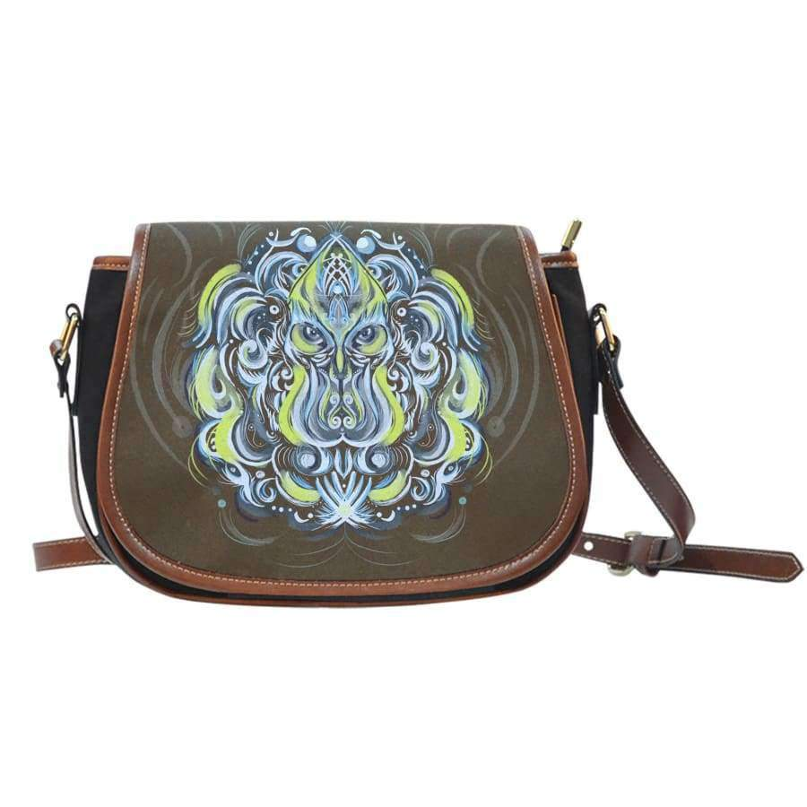 Mystic Owl Canvas Leather Trim Saddle Bag Saddle Bag SHAPE meets COLOR
