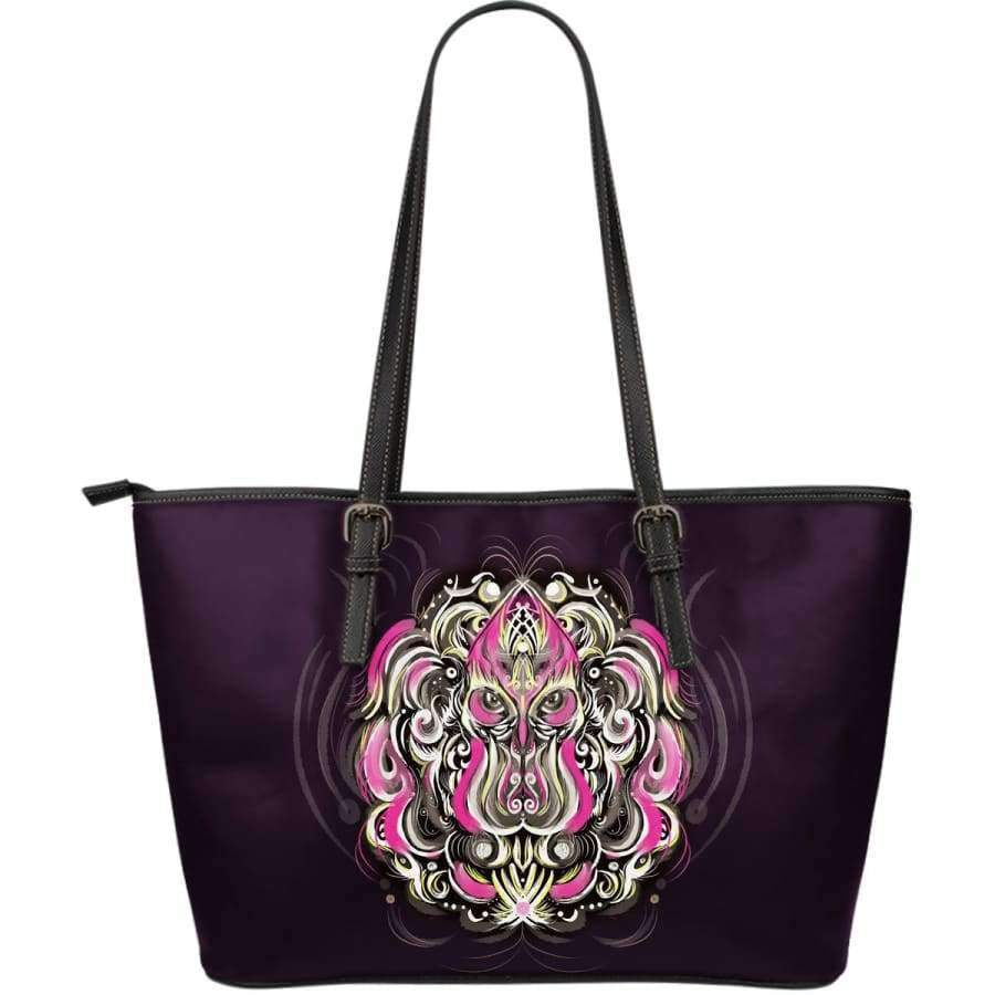 Mystic Owl Pink Large Leather Tote Bag Leather Tote SHAPE meets COLOR
