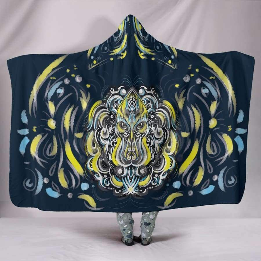 Mystic Owl Yellow Hooded Blankets Hooded Blanket SHAPE meets COLOR