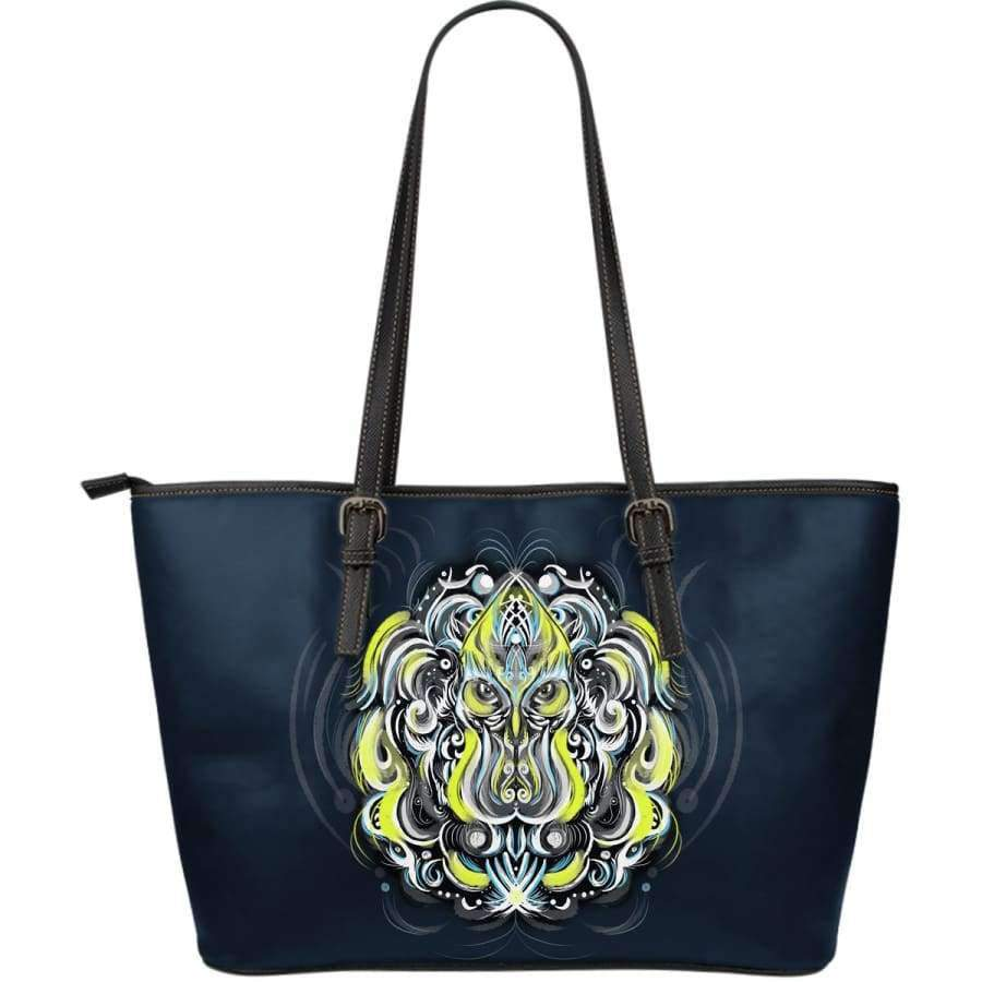 Mystic Owl Yellow Large Leather Tote Bag Leather Tote SHAPE meets COLOR