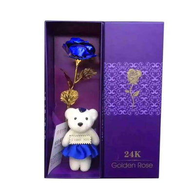 NEW 24k Gold Foil Rose With Box SHAPE meets COLOR Blue with Bear