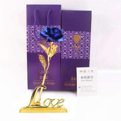 NEW 24k Gold Foil Rose With Box SHAPE meets COLOR Blue with Stand