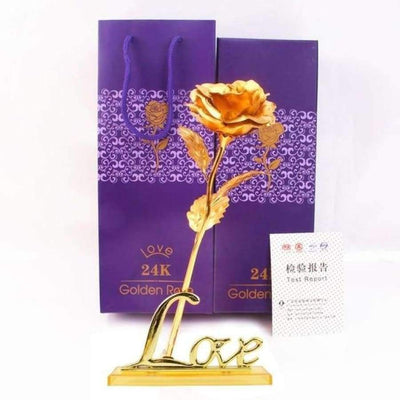 NEW 24k Gold Foil Rose With Box SHAPE meets COLOR Golden with Stand