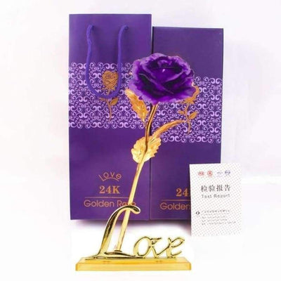 NEW 24k Gold Foil Rose With Box SHAPE meets COLOR Purple with Stand
