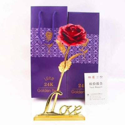 NEW 24k Gold Foil Rose With Box SHAPE meets COLOR Red with Stand