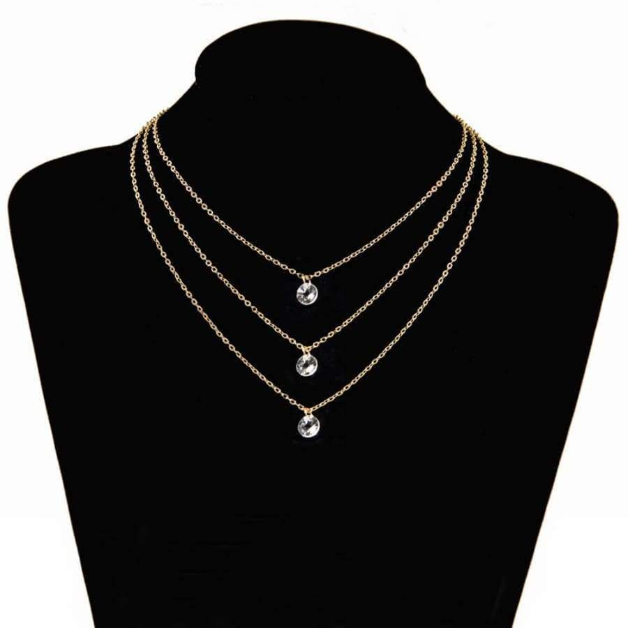 Poputton Gold Color Layered Necklace - Multilayer Chokers Necklace for Women SHAPE meets COLOR