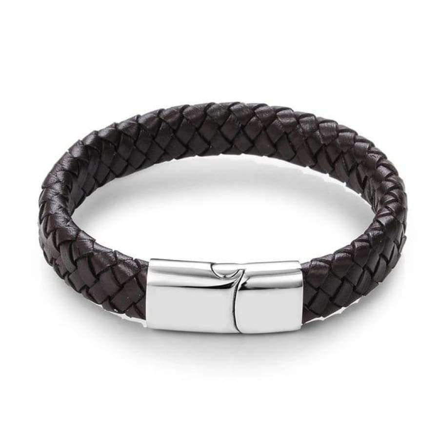 Punk Braided Leather Men's Bracelet jewlery SHAPE meets COLOR Brown 18.5 cm