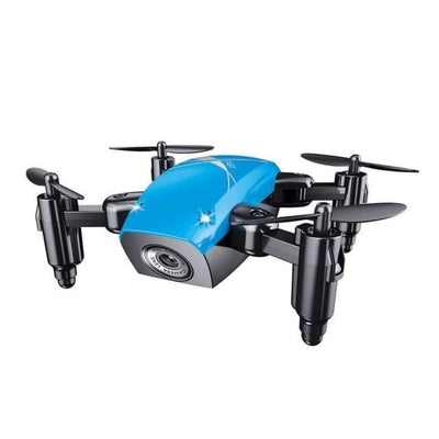 S9HW Foldable RC Mini Drone - RC Pocket Drone With HD Camera - Altitude Hold - Wifi/FPV/FSWB SHAPE meets COLOR Blue