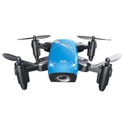 S9HW Foldable RC Mini Drone - RC Pocket Drone With HD Camera - Altitude Hold - Wifi/FPV/FSWB SHAPE meets COLOR Blue with camera