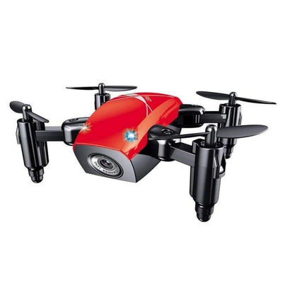 S9HW Foldable RC Mini Drone - RC Pocket Drone With HD Camera - Altitude Hold - Wifi/FPV/FSWB SHAPE meets COLOR Red