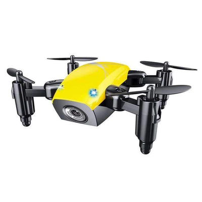 S9HW Foldable RC Mini Drone - RC Pocket Drone With HD Camera - Altitude Hold - Wifi/FPV/FSWB SHAPE meets COLOR Yellow