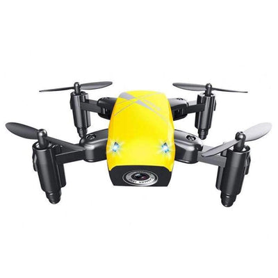 S9HW Foldable RC Mini Drone - RC Pocket Drone With HD Camera - Altitude Hold - Wifi/FPV/FSWB SHAPE meets COLOR Yellow with camera