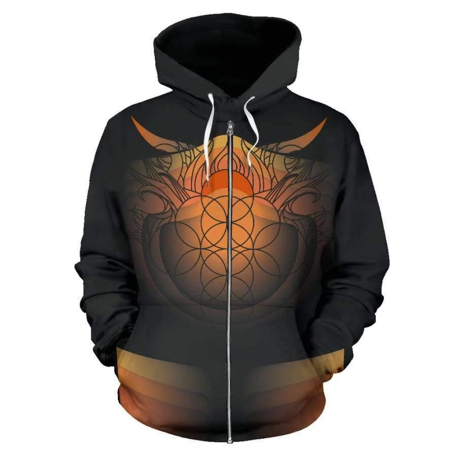 Sacred Funky Flames All Over Zip Up Hoodie (Women, Men, Youth) Hoodies SHAPE meets COLOR
