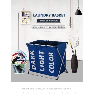 SHUSHI Collapsible Dirty Clothes Laundry Basket with Three Grids SHAPE meets COLOR