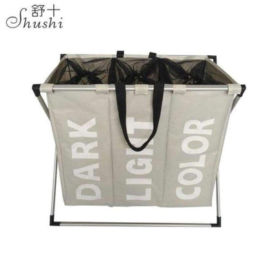 SHUSHI Collapsible Dirty Clothes Laundry Basket with Three Grids SHAPE meets COLOR Three grid Beige