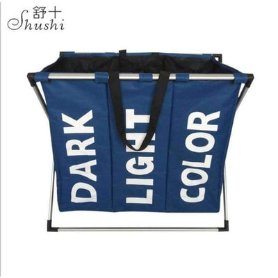 SHUSHI Collapsible Dirty Clothes Laundry Basket with Three Grids SHAPE meets COLOR Three grid BLUE