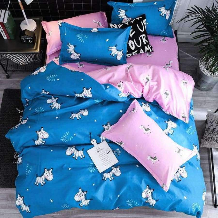 Soft Dog Blue Duvet Cover Bedding Set SHAPE meets COLOR Twin 3PCS