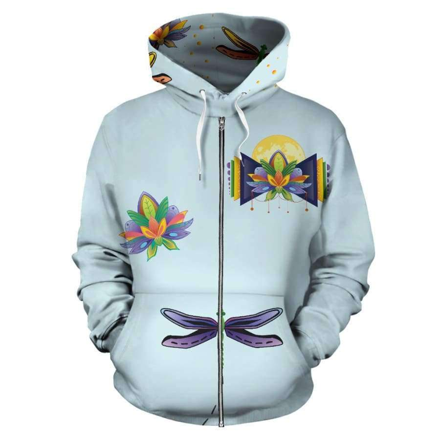 Spiritual Lotus All Over Zip up Hoodie (Women, Men, Youth) Hoodies SHAPE meets COLOR