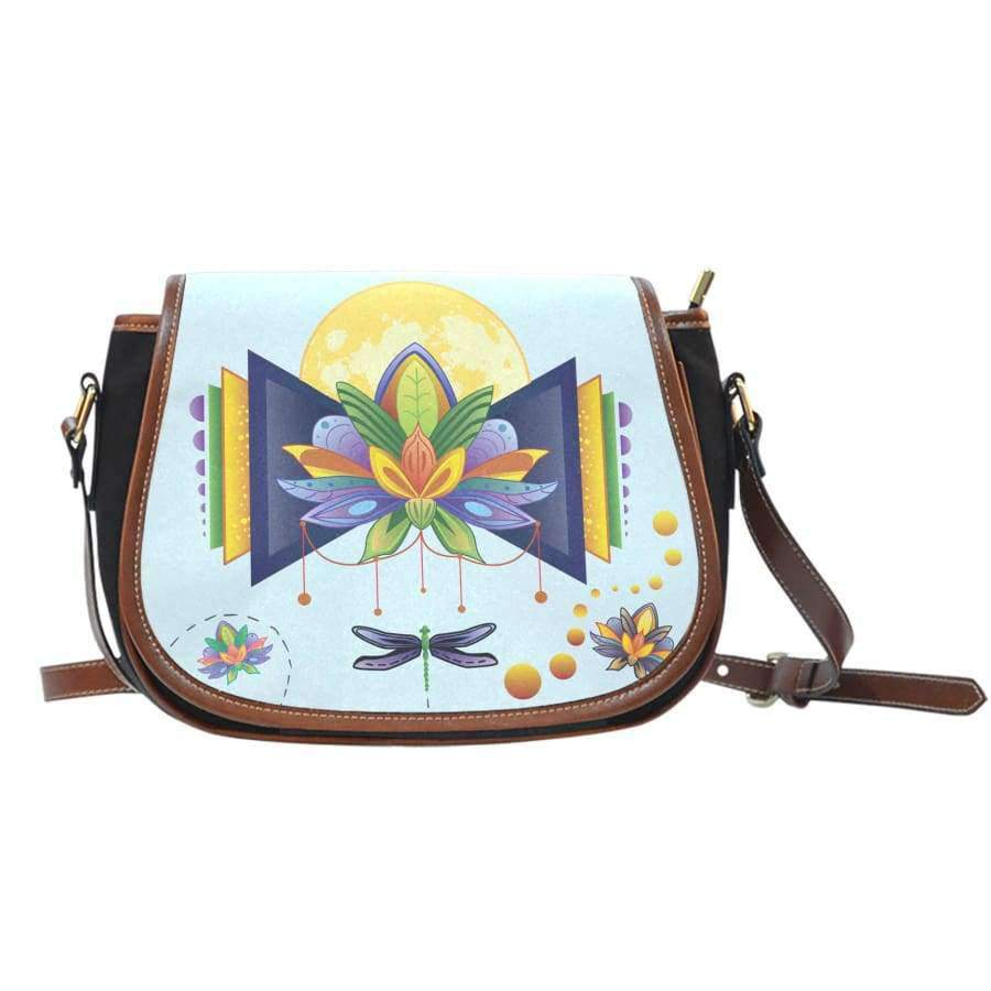 Spiritual Lotus Canvas Leather Saddle Bag Saddle Bag SHAPE meets COLOR