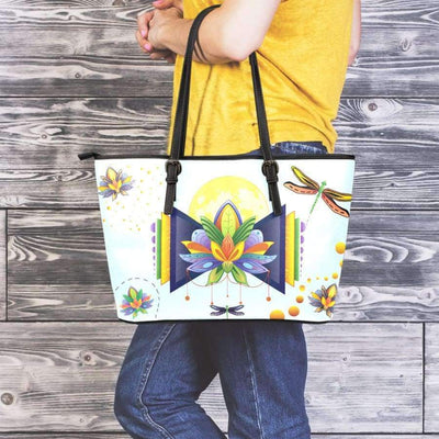 Spiritual Lotus Large Leather Tote Bag Leather Tote SHAPE meets COLOR