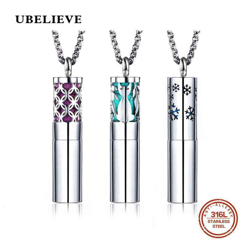 Stainless Steel Necklace for Aromatherapy, Perfume and Essential Oils Diffuser SHAPE meets COLOR