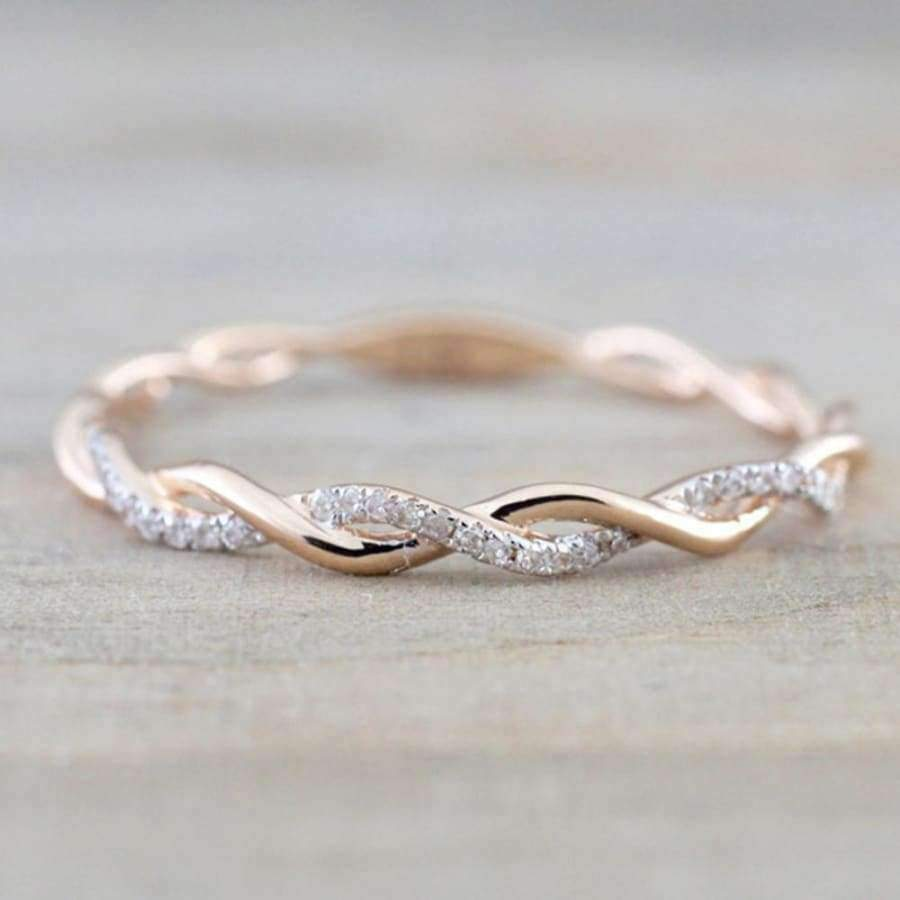 Susenstone Zirconia Ring - Rose Gold Color Twist - Austrian Crystals SHAPE meets COLOR