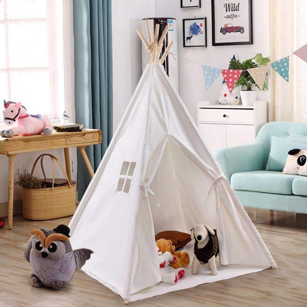 White Indian Play Tent with Wooden Poles for Kids SHAPE meets COLOR